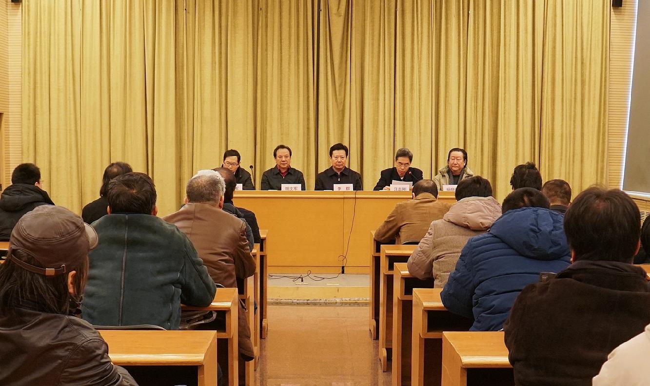 李群(中),汪志刚(右二),明文军(左二),杨晓阳(右一),张士军(左一)