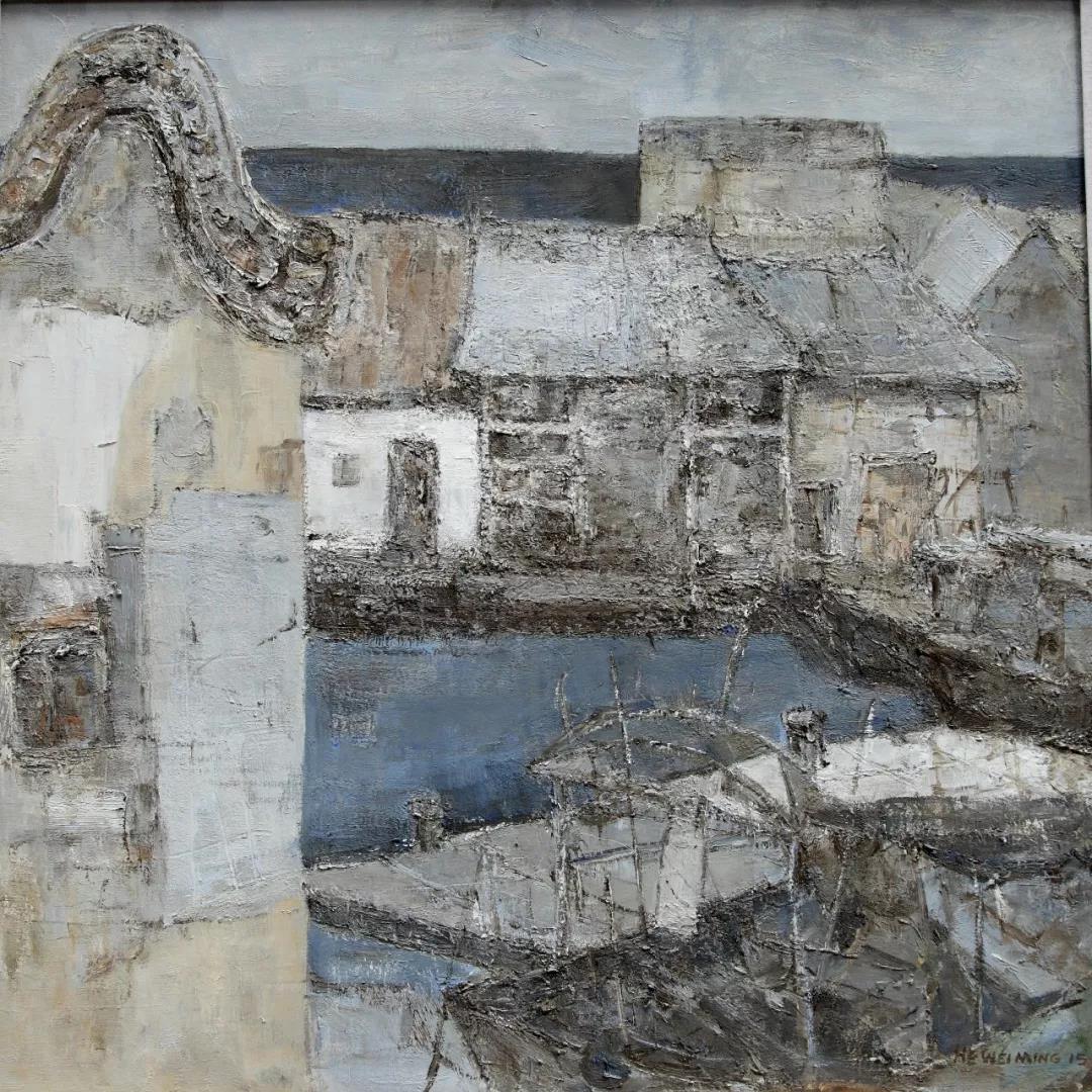 何唯铭  海边的房子05号  100×100cm  布面油画  2017年