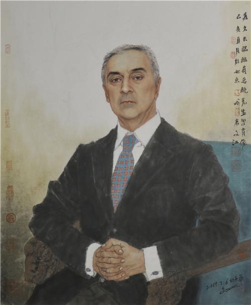 于文江 黑山总统米洛·久卡诺维奇肖像 2019