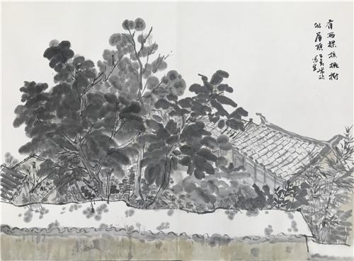 常欣 有两颗核桃树的屋顶 纸本水墨 2019