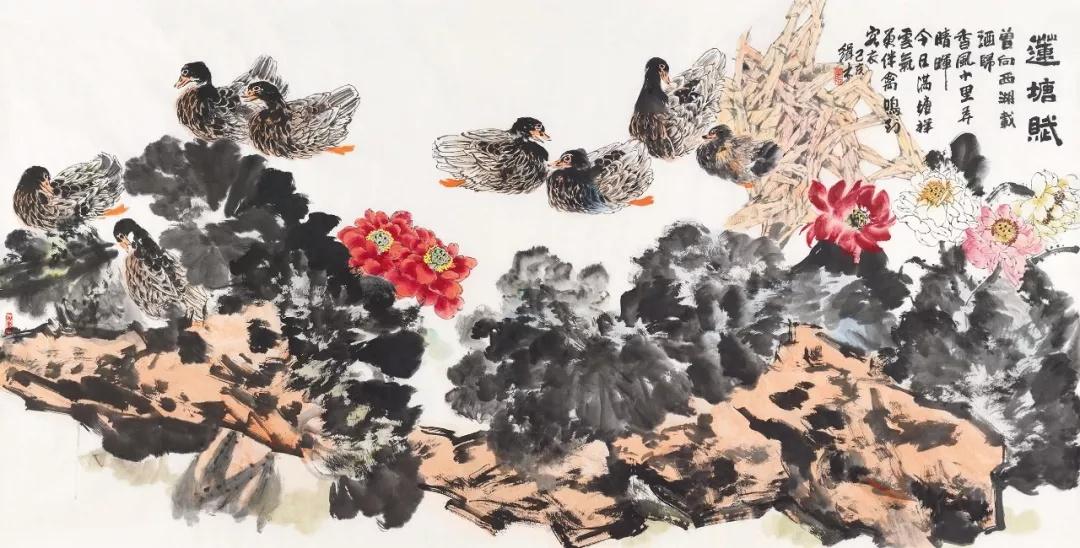 裘缉木  莲塘赋  124×245cm  2019年  中国画