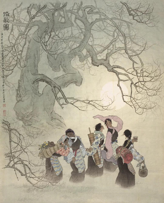 朱理存  踏歌图  112×90cm  1980年  中国画