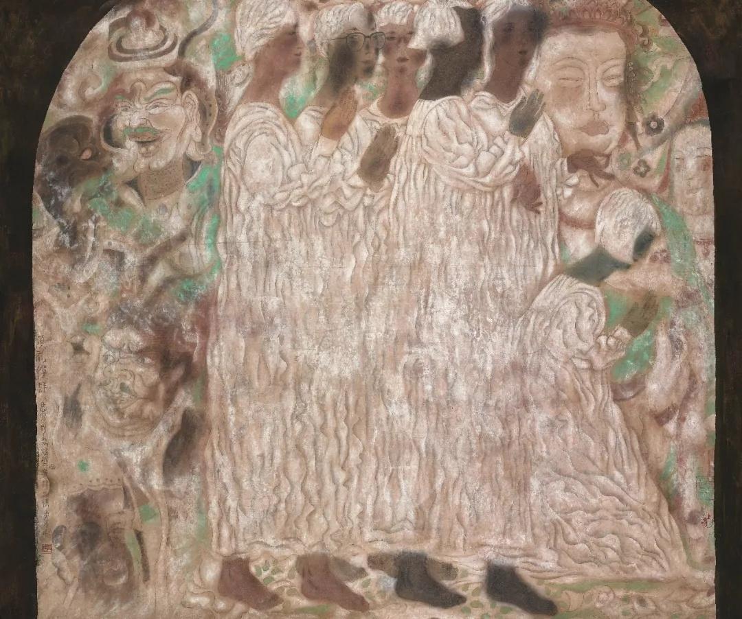 唐勇力  顶礼膜拜  80×94cm  1991年  中国画