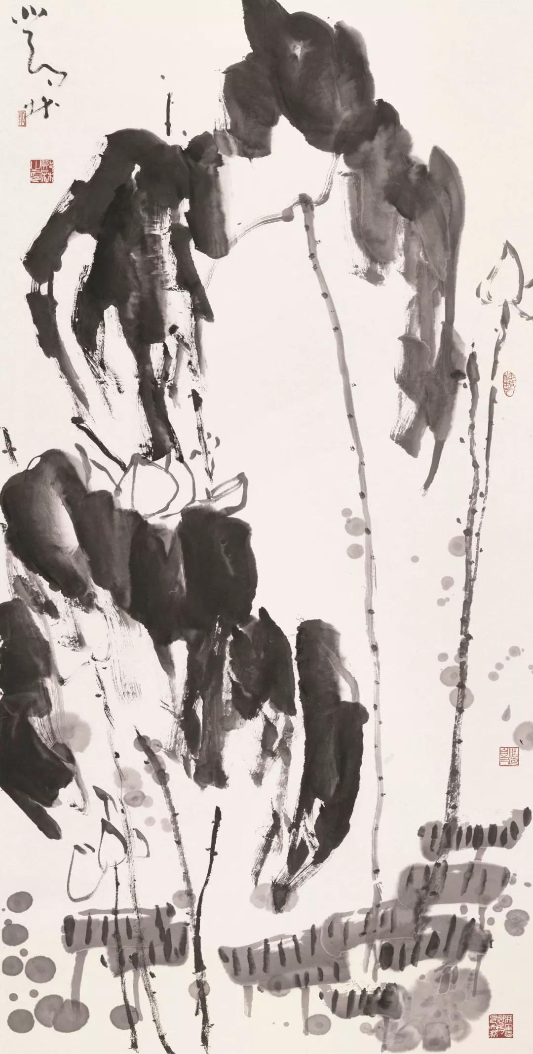 邓林  荷  136×68cm  20世纪80年代  中国画