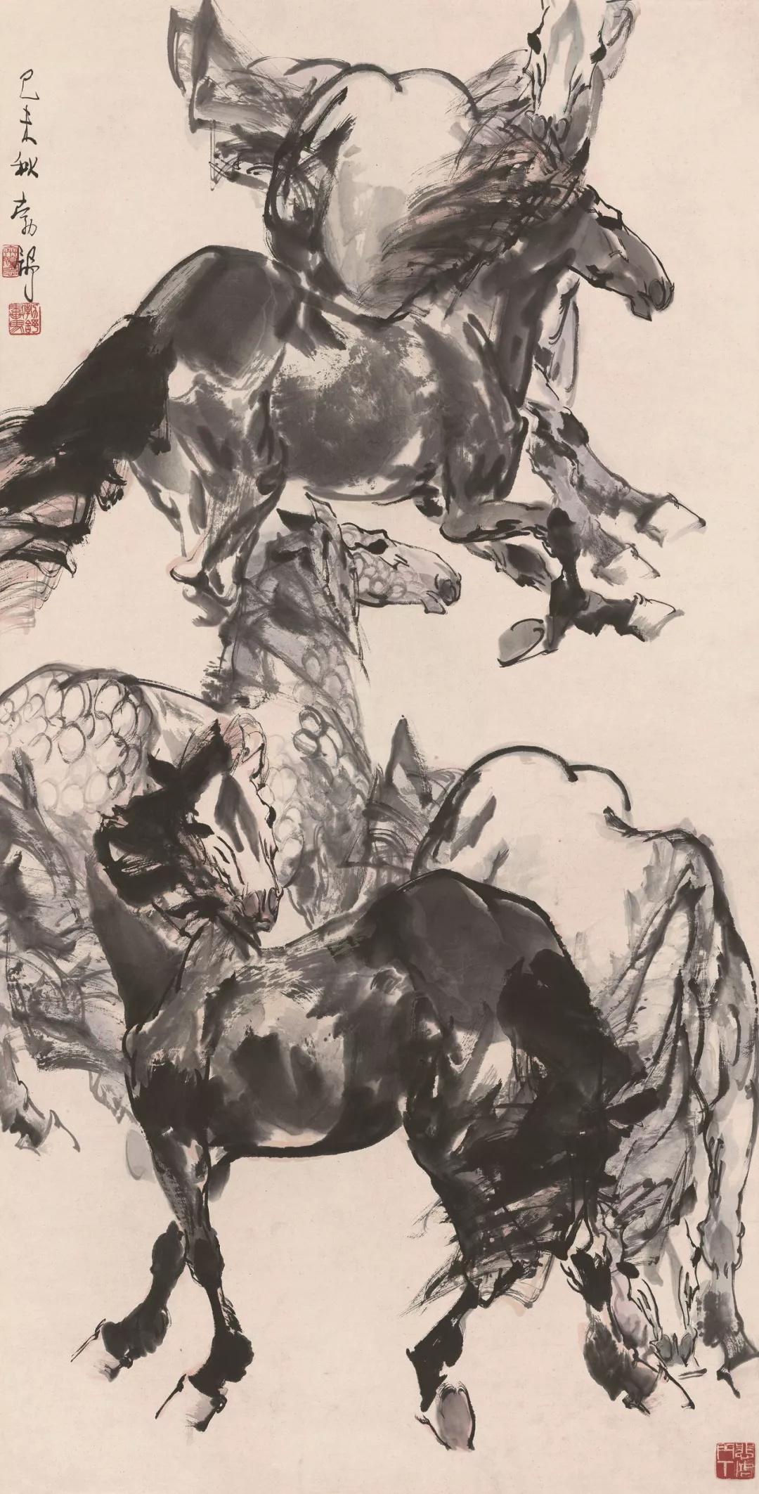 刘勃舒  五马图  138×68cm  1979年  中国画