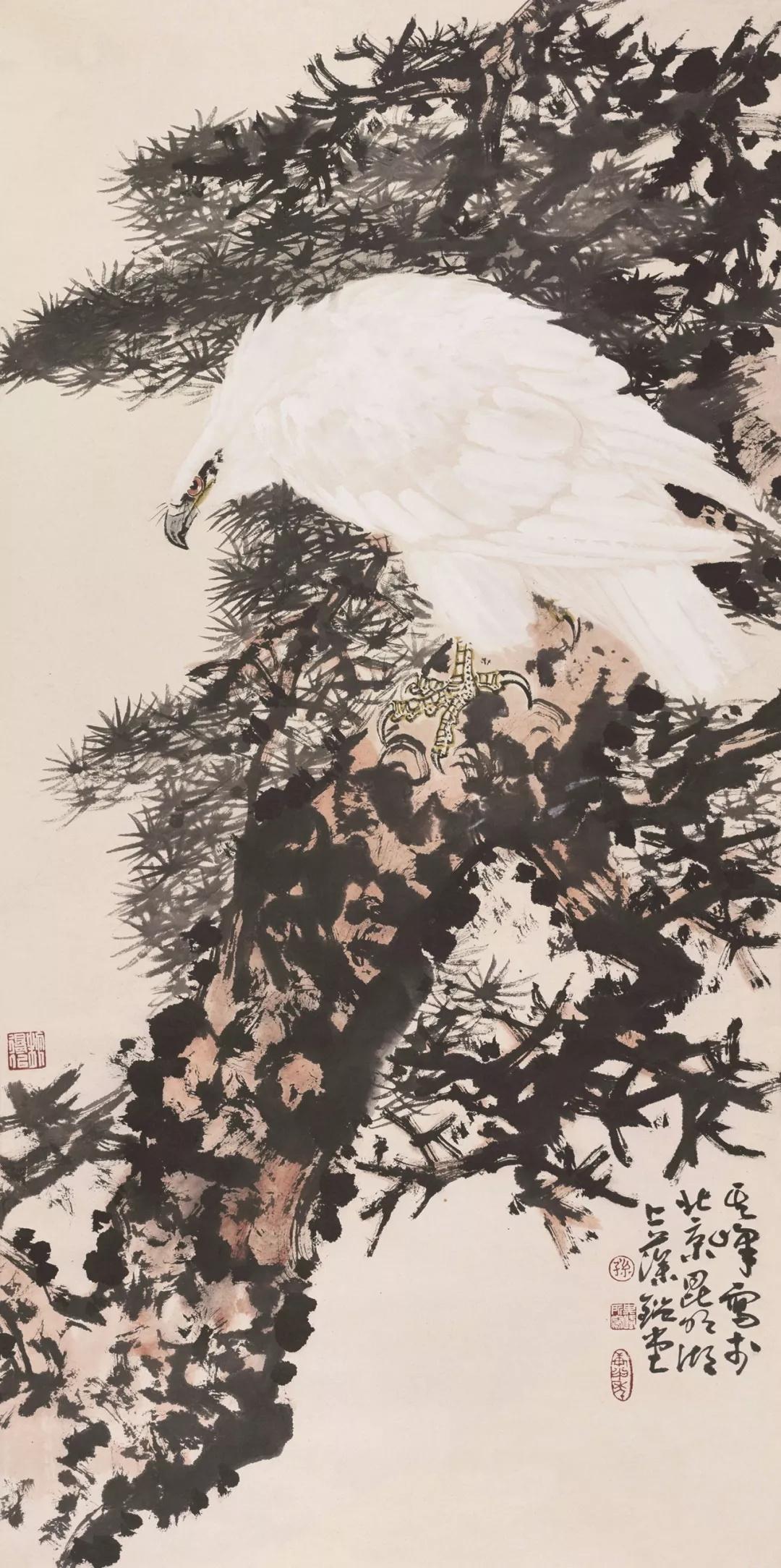 孙其峰  白鹰  131×66cm  中国画