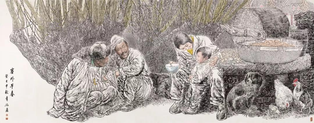 王有政  塞外早春  143×364cm  2013年  中国画