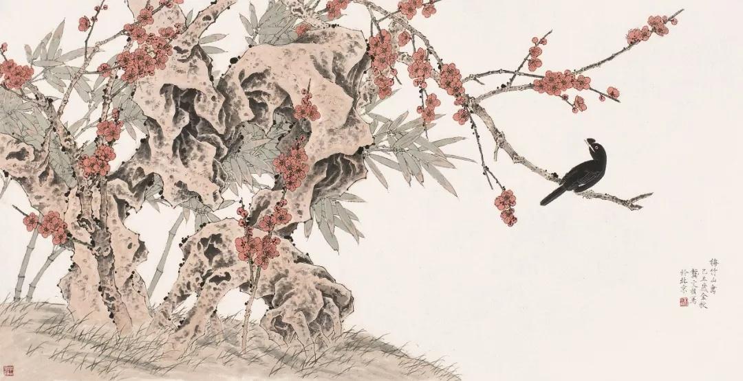 龚文桢  梅竹山禽  69×136cm  2009年  中国画