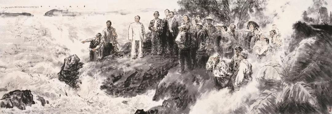 李延声  东方风来满眼春  220×640cm  中国画