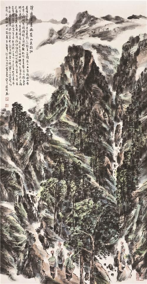 舒建新 溪边古道幽茶山采摘归180cm×96cm中国画