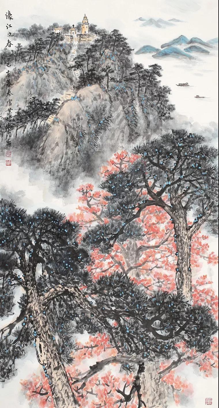 刘富业 濠江之春 国画 180cm×90cm 2019年