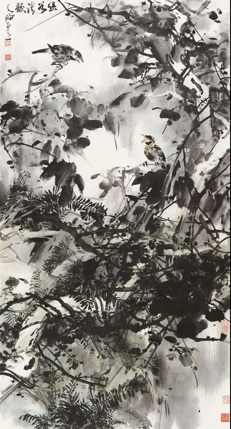 陈鹏 幽谷清韵 国画 180cm×97cm 2019年