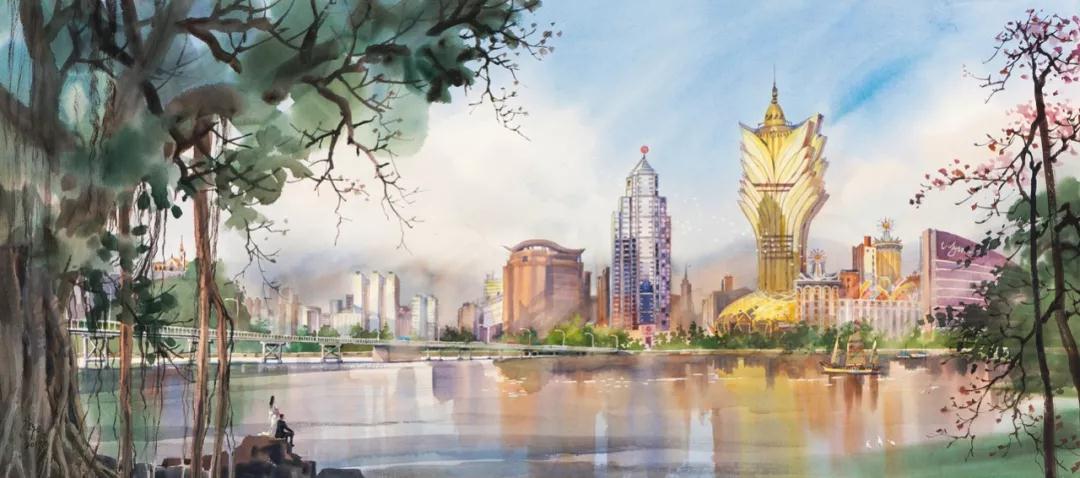 黎鹰 南湾湖春晓 水彩 80cm×140cm 2019年