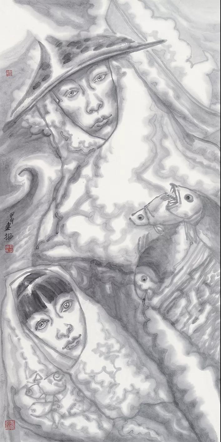 纪连彬 渔家女 国画 136cmx68cm 2019年
