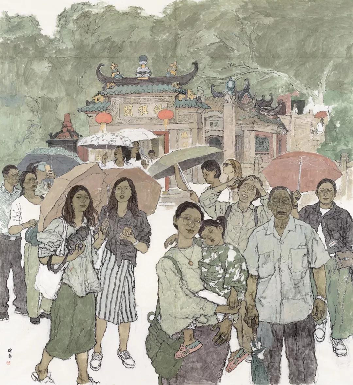 赵奇 祭妈祖 纸本设色 210cm×191cm 2019年