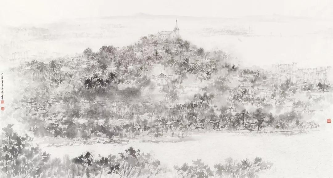 熊海 澳门南湾 国画 95cm×178cm 2019年