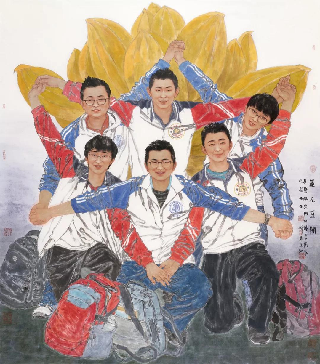 于文江 莲花盛开 国画 165cm×150cm 2019年