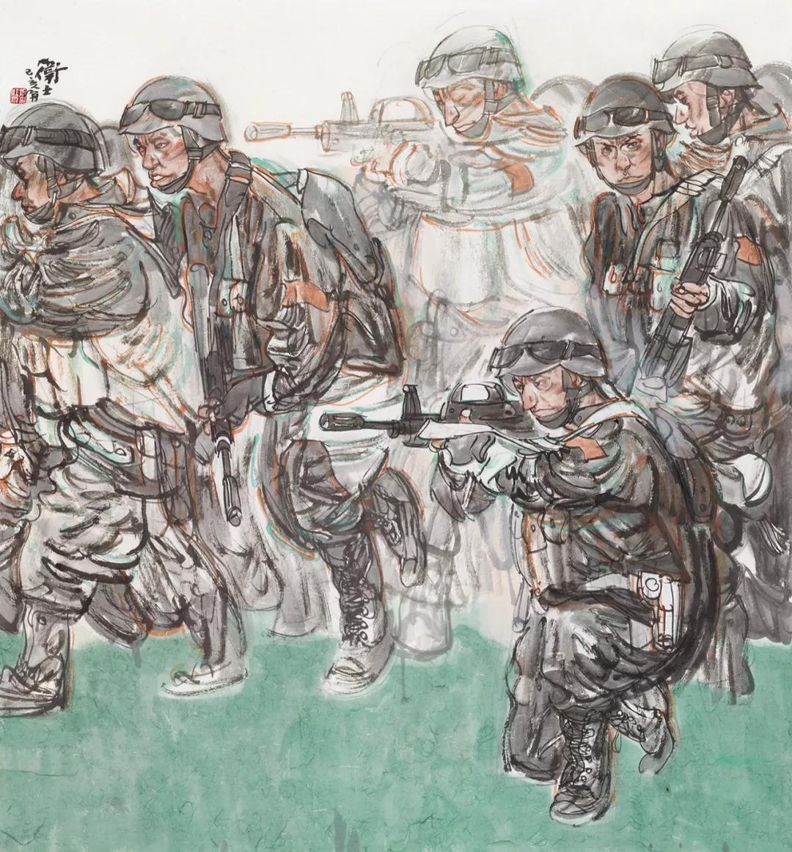 张江舟 卫士 国画 160cm×150cm 2019年