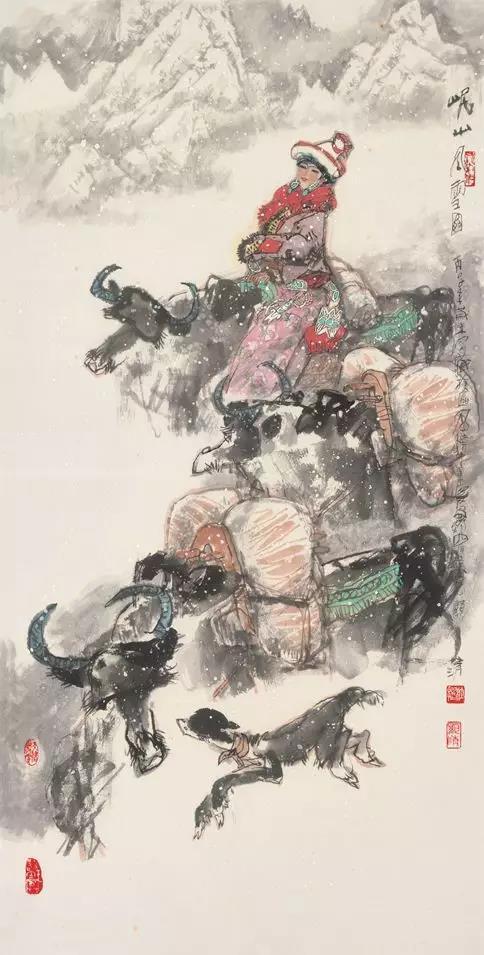 杜显清《岷山风雪图》138x68cm 纸本水墨 1996年