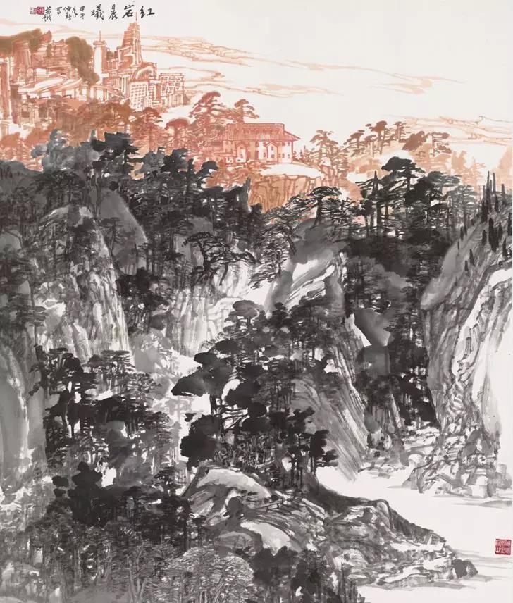 黄越《红岩晨曦》220x180cm 纸本水墨 2014年