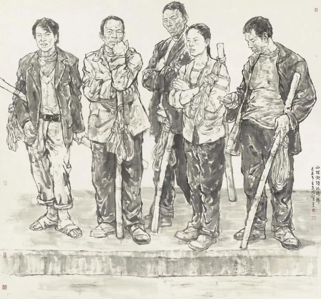 王世明《山城街头的棒棒》200x200cm 纸本水墨 2009年