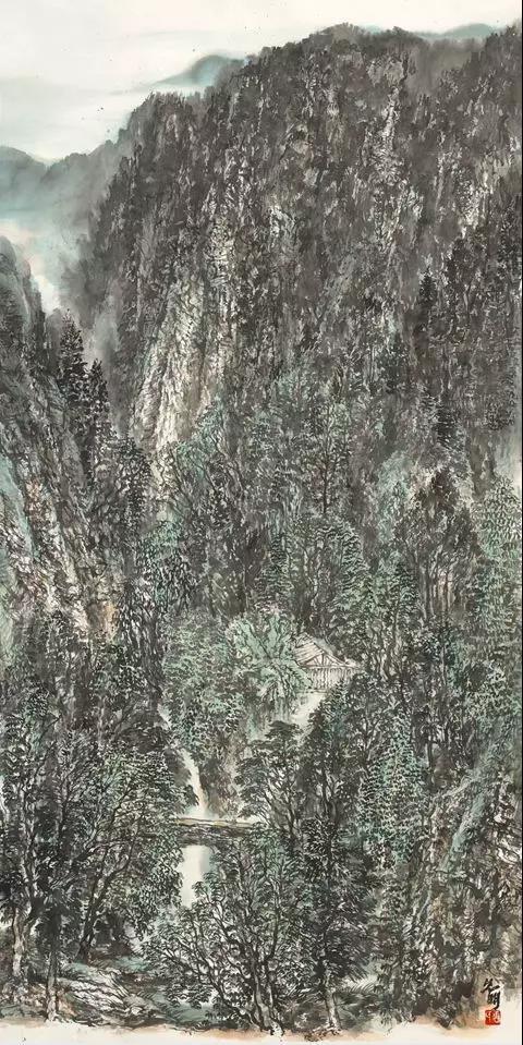 唐允明《溪涧清音》136x68cm 纸本水墨 2018