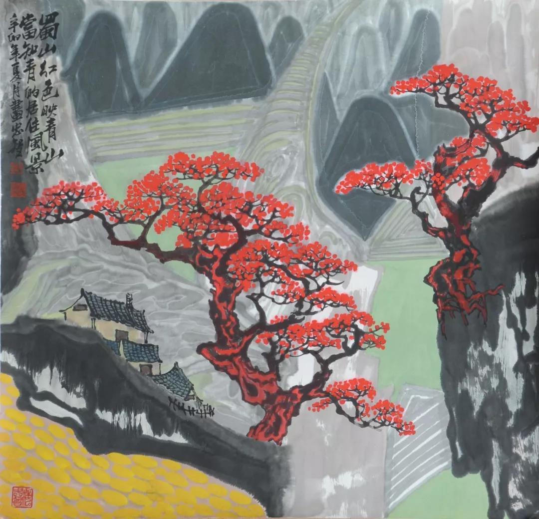 梅忠智《蜀山红色映青山》96x96cm 纸本水墨 2011年