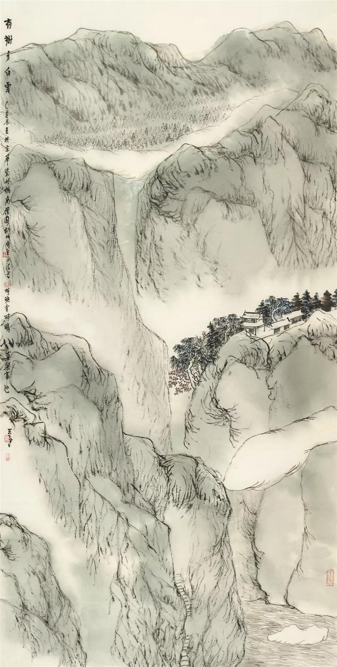 王平  有树多白云 136cm×68cm 2019年